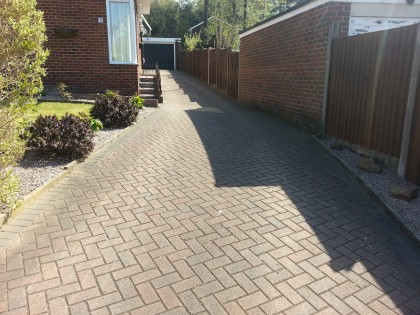 Block paved driveway before cleaning and sealing image