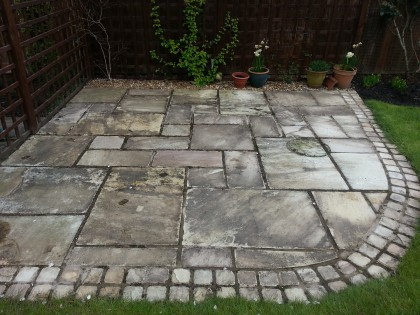 Indian Sandstone Patio before cleaning and sealing image