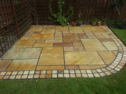 Indian Sandstone patio cleaned and sealed image